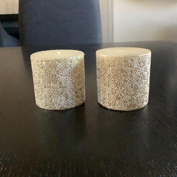 Pottery Barn Basilica Pillar Candle-set of 2